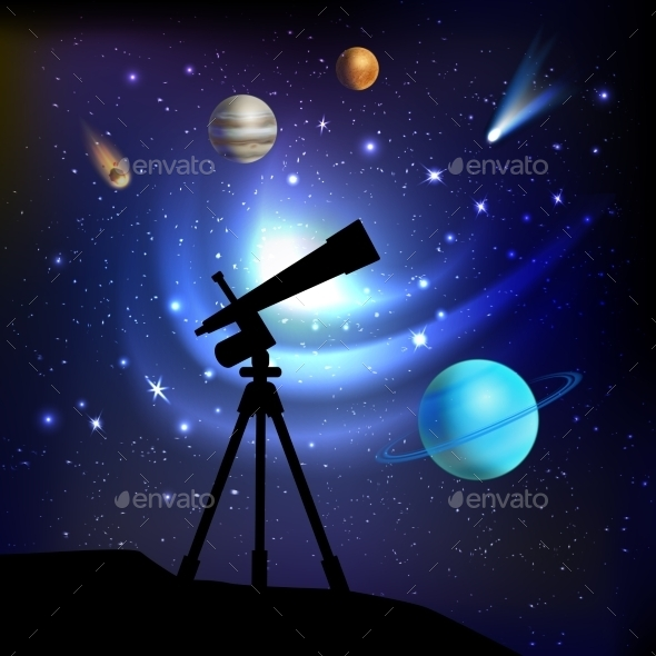 GraphicRiver Space Background With Telescope 10054395
