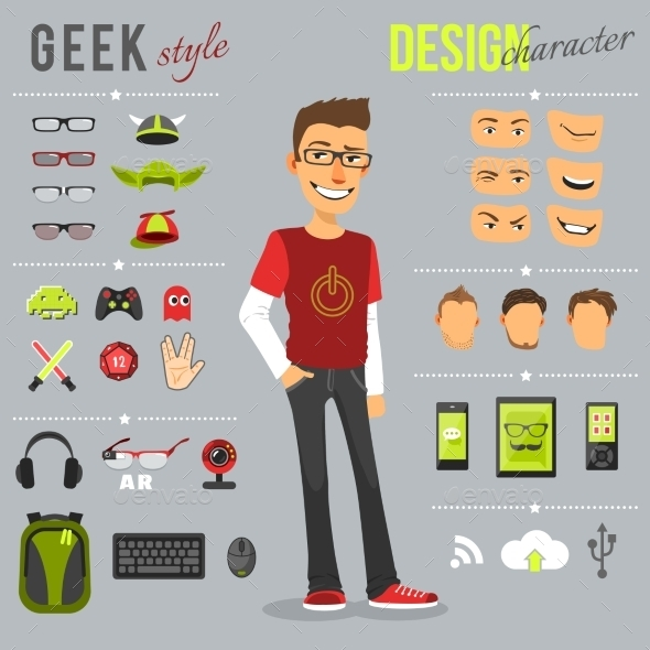 GraphicRiver Geek Style Set 10054437