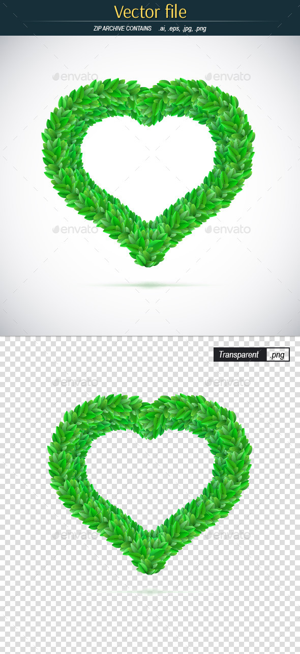 GraphicRiver Heart of Green Leaves 10054696