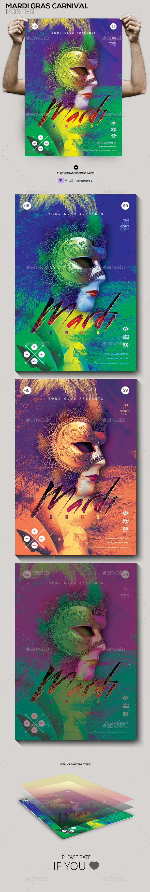 GraphicRiver Mardi Gras Flyer Poster 10054700
