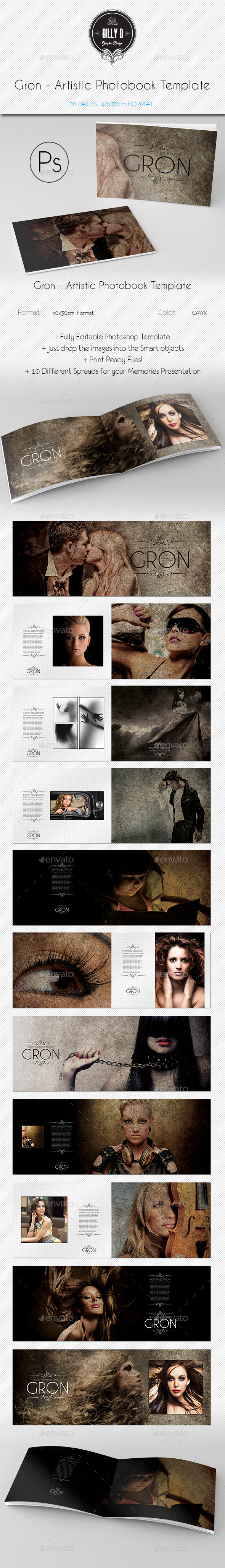 GraphicRiver Gron Artistic Photobook Template 10054915