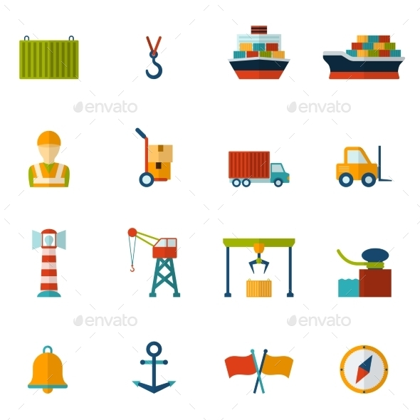 GraphicRiver Seaport Flat Icon 10054932