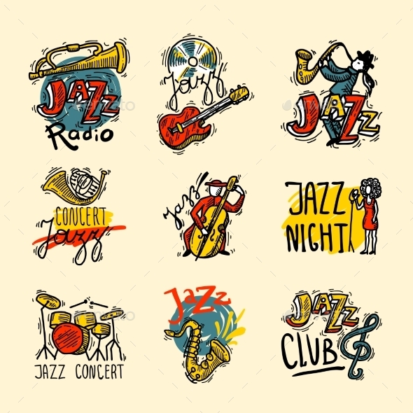 GraphicRiver Jazz Labels Set 10054994
