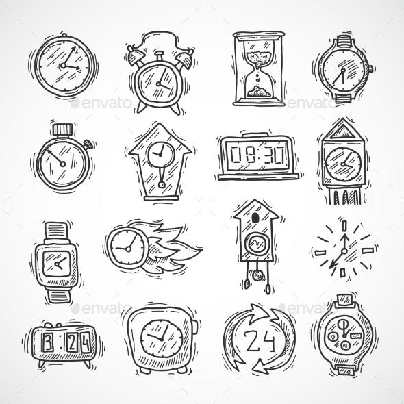 GraphicRiver Clock Icons Set 10055105