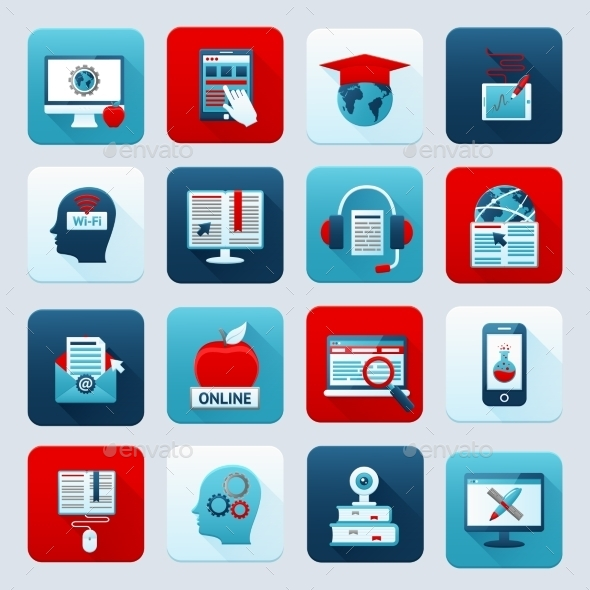 GraphicRiver Online Education Icons 10055210