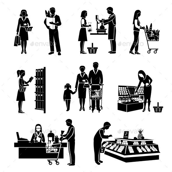 GraphicRiver Supermarket People Black 10055258