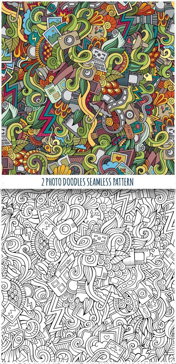 GraphicRiver 2 Photography Doodles Seamless Pattern 10055259