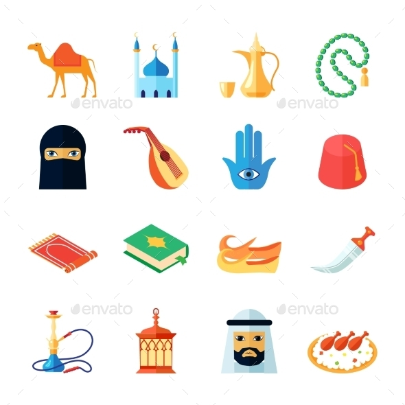 GraphicRiver Arabic Culture Icon Flat 10055264