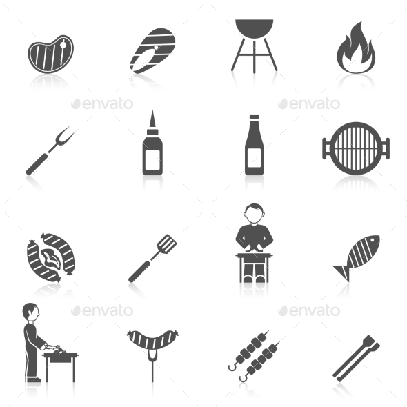 GraphicRiver Bbq Grill Icon Black 10055273