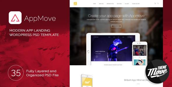 ThemeForest AppMove Modern Responsive App Landing PSD Templa 10055596