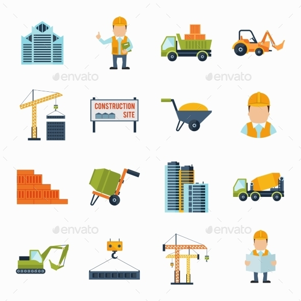 GraphicRiver Construction Icons Flat 10055704