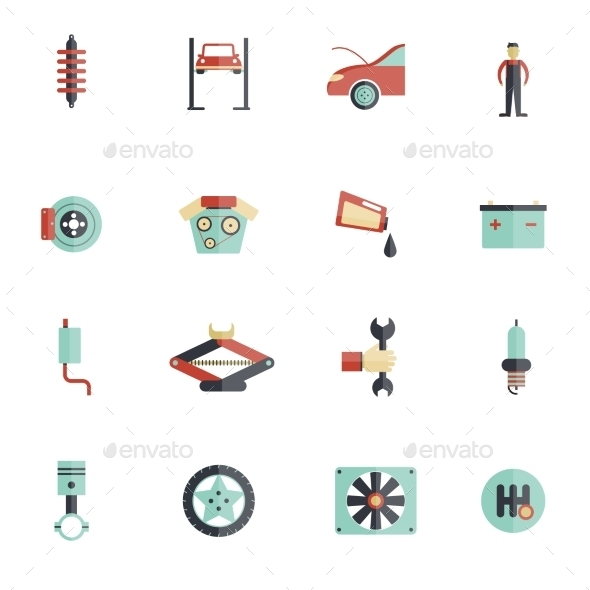 GraphicRiver Auto Service Flat Icon 10055726