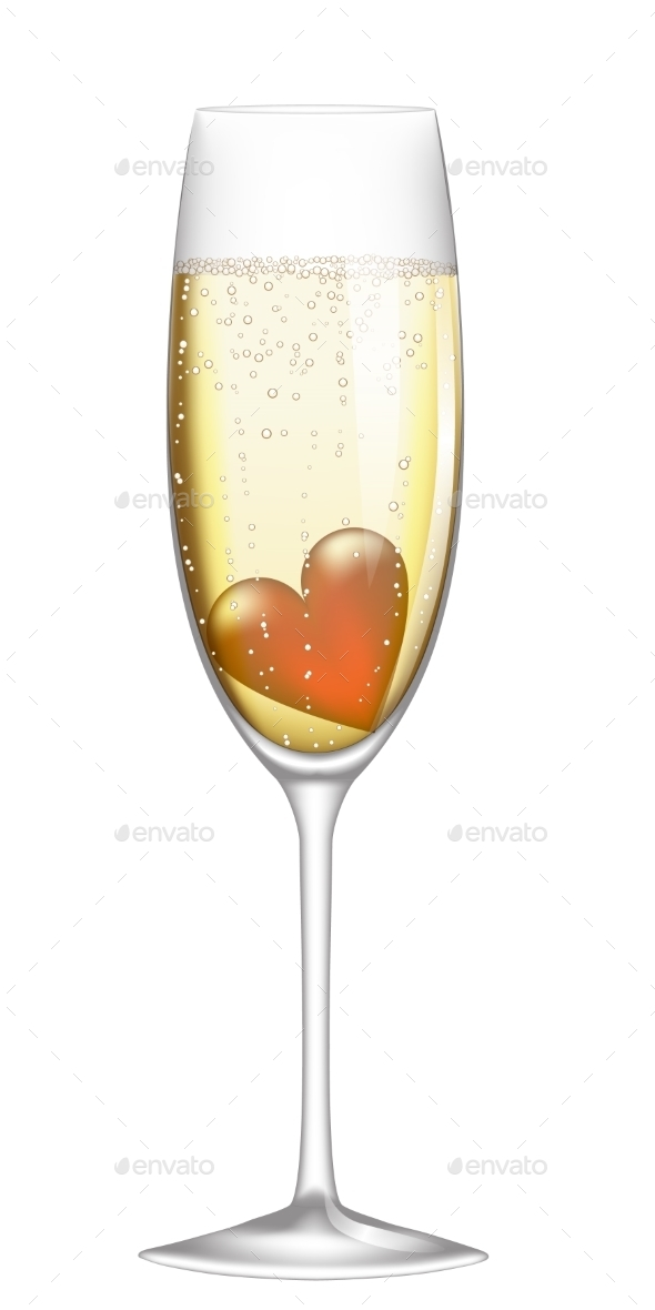 GraphicRiver Glass of Champagne with Heart 10055785
