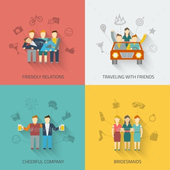 GraphicRiver Friends Icons Flat Set 10055951