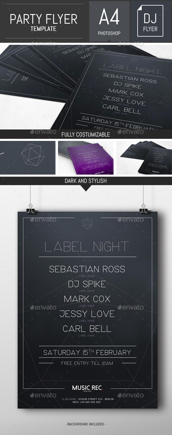 GraphicRiver Dark Minimal Dj Party Flyer Poster Template 10055963
