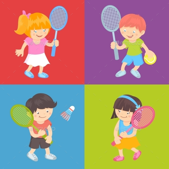 GraphicRiver Kids Playing Tennis 10055964