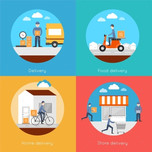 GraphicRiver Delivery Icons Flat Set 10055969