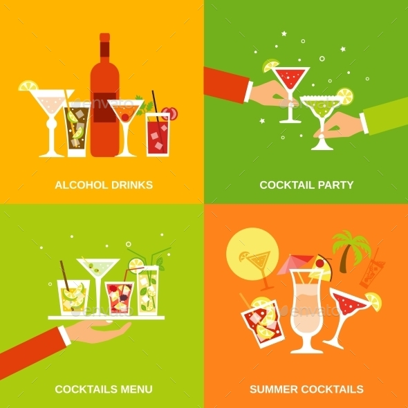 GraphicRiver Alcohol Cocktails Icons Flat 10055972