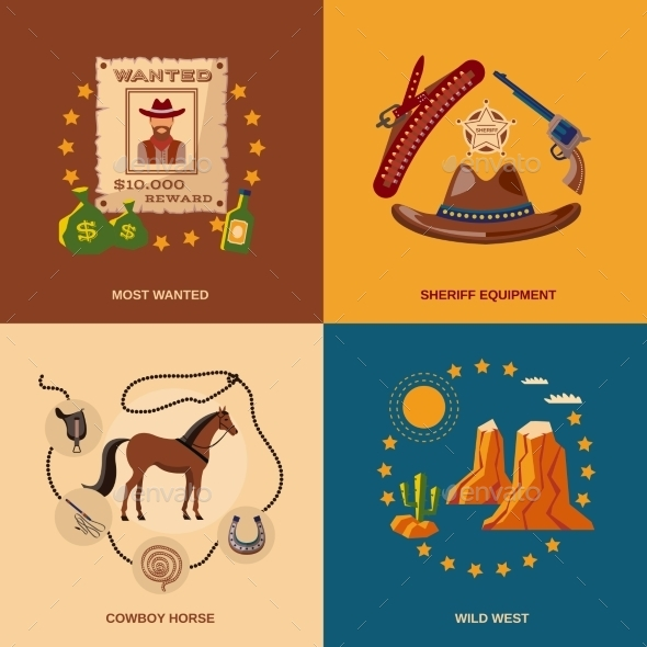 GraphicRiver Cowboy Icons Flat 10055974