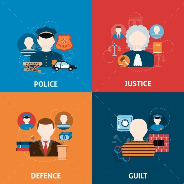 GraphicRiver Crime and Punishments Flat Icons Composition 10055980