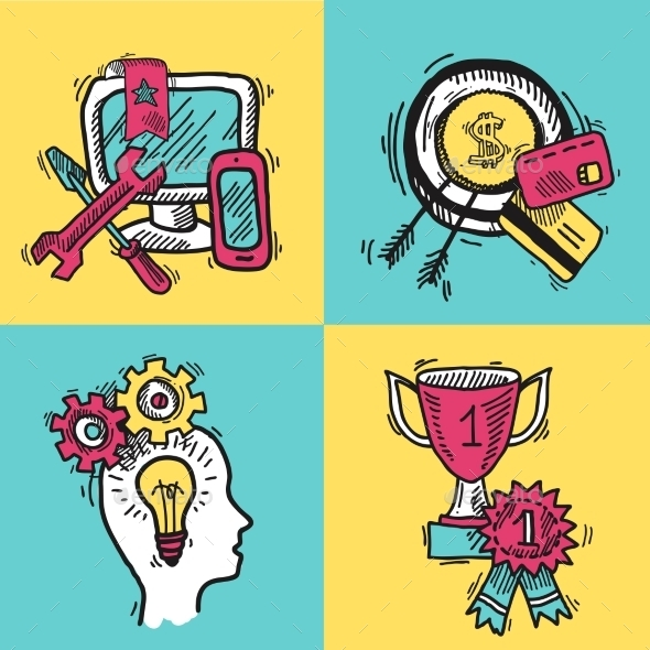 GraphicRiver SEO Internet Marketing Colored Sketch Set 10056000