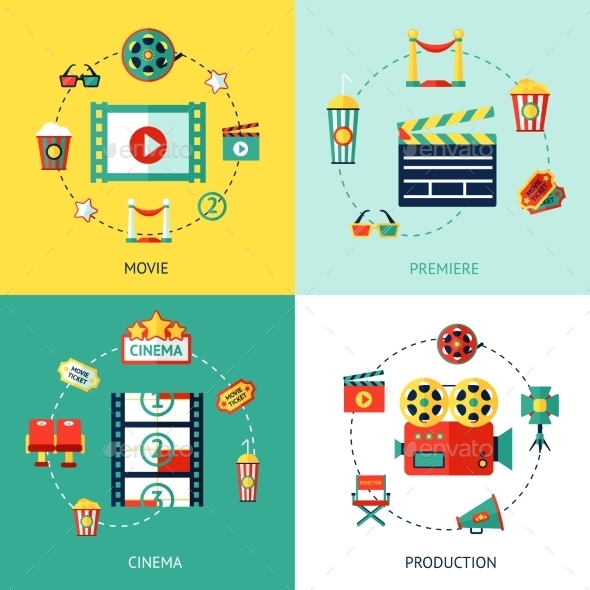 GraphicRiver Cinema Flat Set 10056035