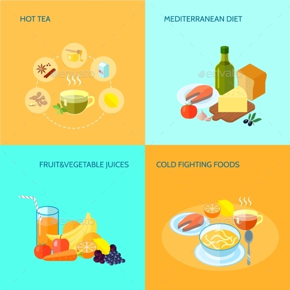GraphicRiver Healthy Food Flat 10056080