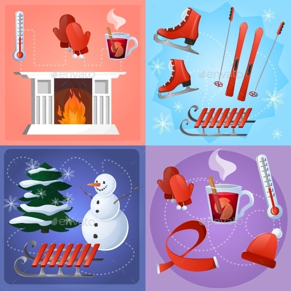 GraphicRiver Winter Flat Set 10056093