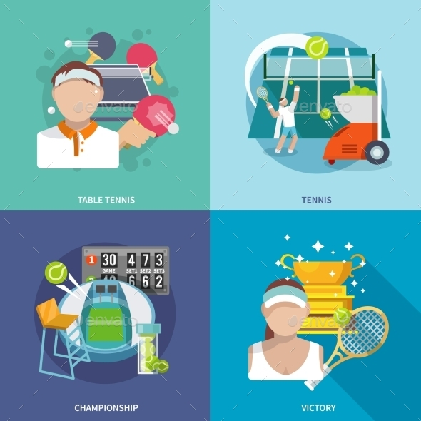 GraphicRiver Tennis Flat Set 10056133