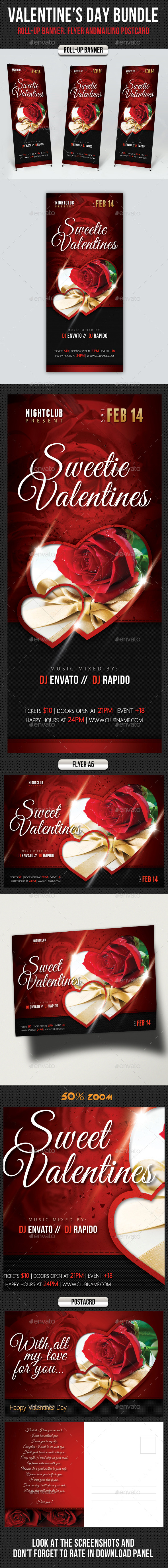 GraphicRiver 3 in 1 Valentines Day Banner Flyer Postcard Bundle 10056158