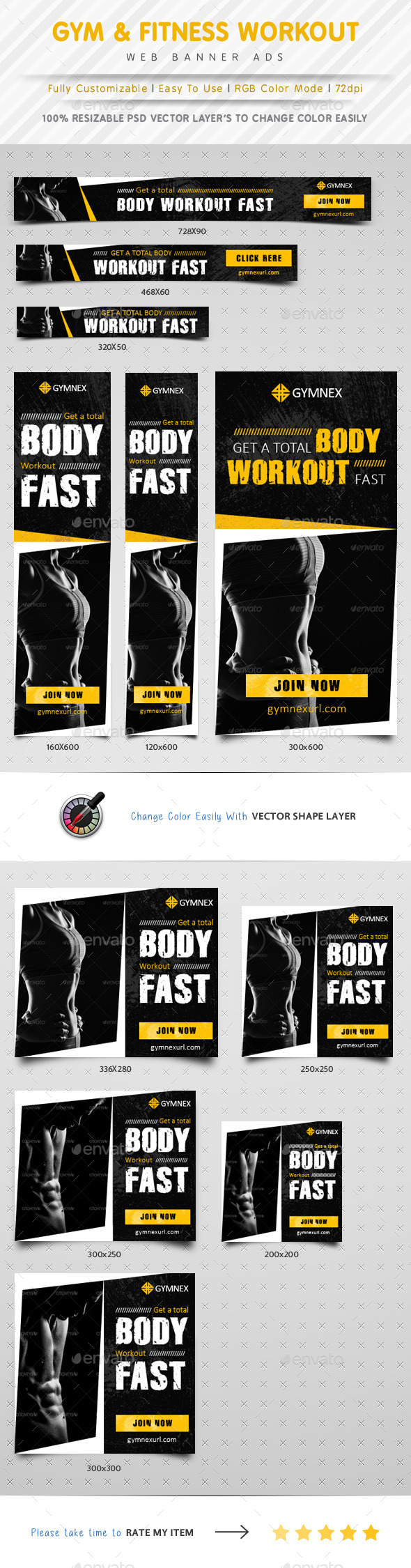 GraphicRiver GYM & Fitness Web Banner Ads 10056184
