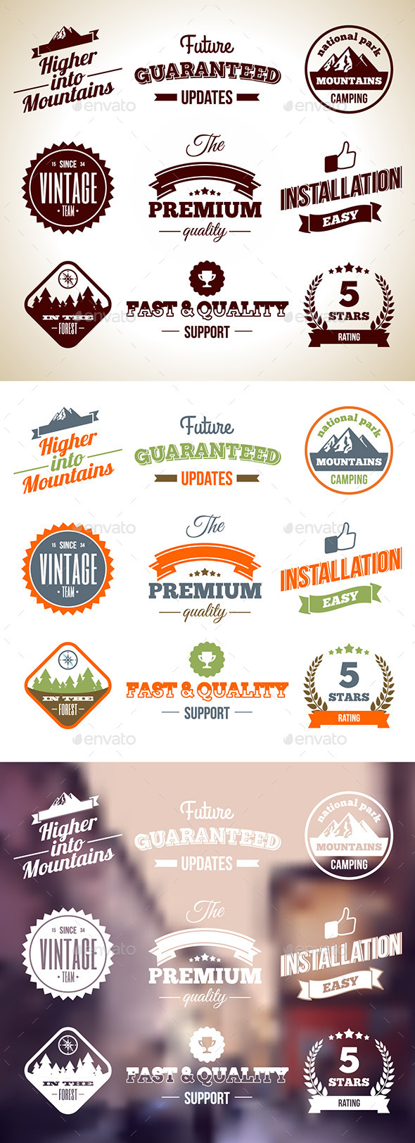GraphicRiver Vintage Badges Premium labels Hight Quality Design Elements 5922897