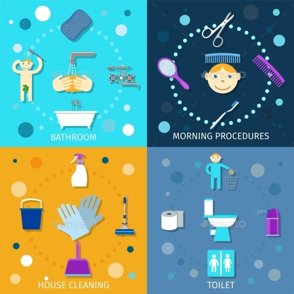 GraphicRiver Hygiene Icons Flat 10057314