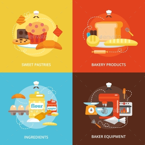 GraphicRiver Bakery Flat Icons Set 10057331