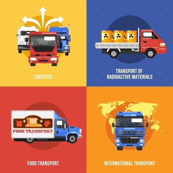 GraphicRiver Truck Icons Flat 10057339
