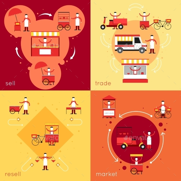 GraphicRiver Street Food Flat Set 10057367
