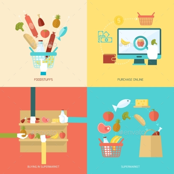 GraphicRiver Supermarket Flat Set 10057587