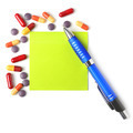 Medications, pen and paper for a prescription. - PhotoDune Item for Sale