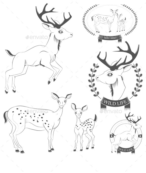 GraphicRiver Deer Emblems 10057921