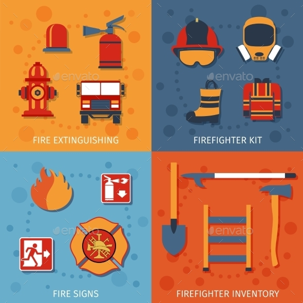 GraphicRiver Firefighter Flat Set 10057971