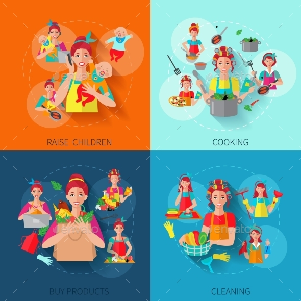 GraphicRiver Housewife Flat Set 10058048