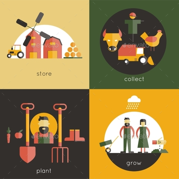GraphicRiver Farm Flat Set 10058141