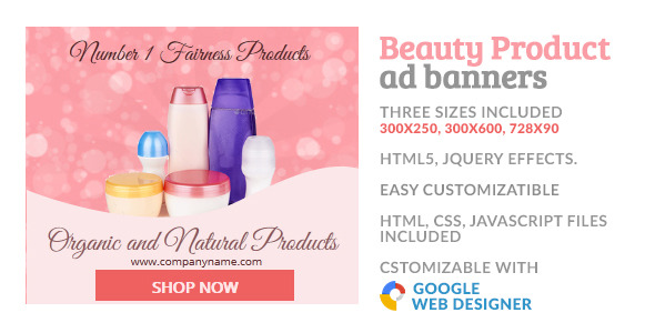 CodeCanyon Beauty Cosmetic Product GWD HTML5 Ad Banner 10058264