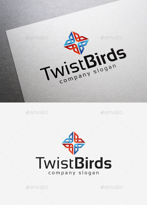 GraphicRiver Twist Birds Logo 10058394