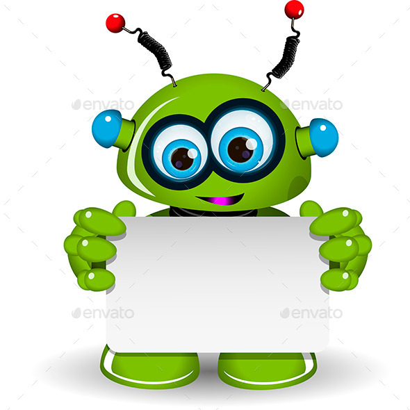 GraphicRiver Green Robot and White Background 10058486