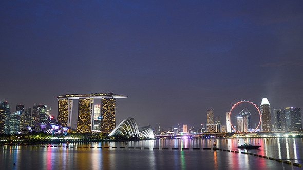 Singapore Flyer and Marina Bay Sands Hotel view