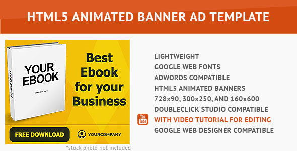 CodeCanyon Gold Ebook HTML5 Animated Banner 10059608