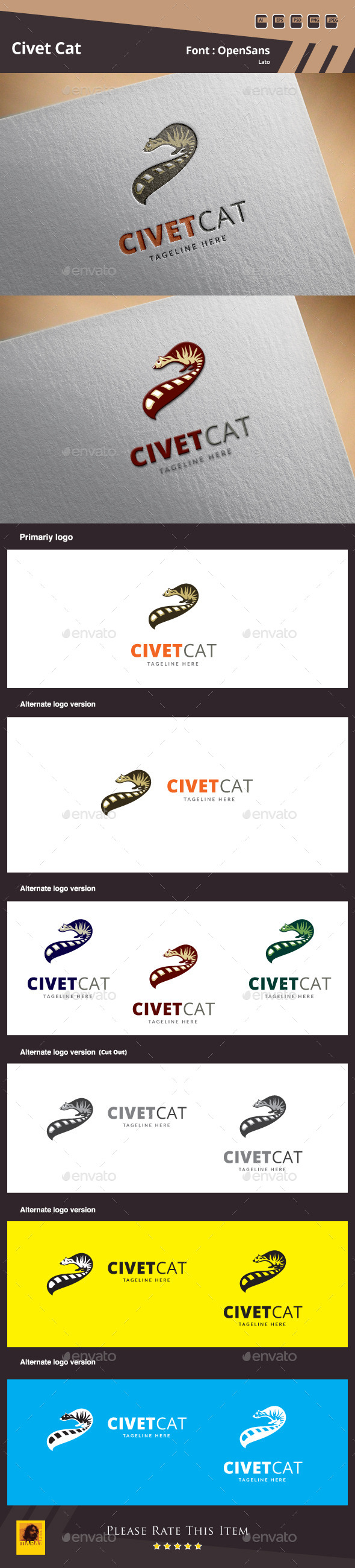 GraphicRiver Civet Cat Logo Template 10060123