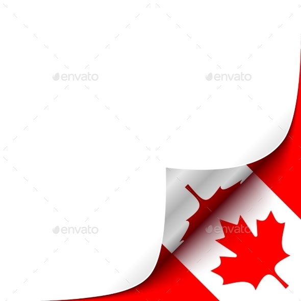 GraphicRiver Curled Up Paper Corner on Canadian Flag 10060287
