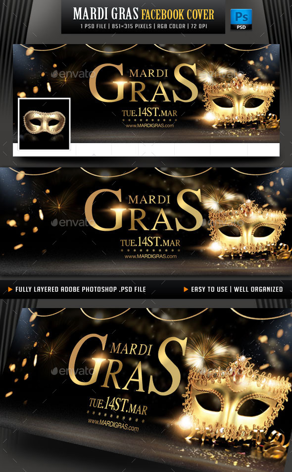 GraphicRiver Mardi Gras Facebook Cover 10060412
